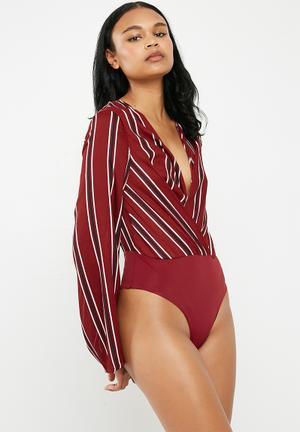 3632cac1e8d26 Striped drape plunge bodysuit - burgundy