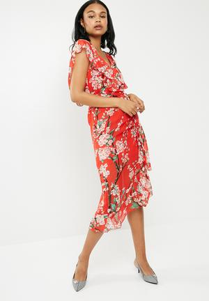 Floral ruffle short sleeve midi tea dress - red