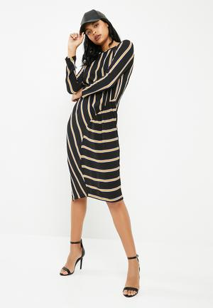 Stripe midi dress with gather detail - multi