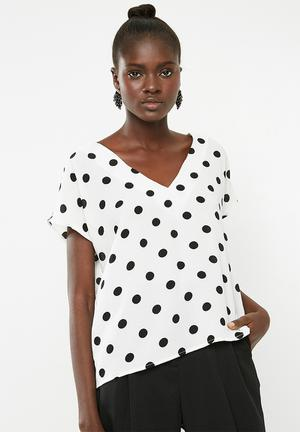 V-neck blouse - white & black