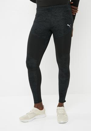 Graphic long sport tights - black