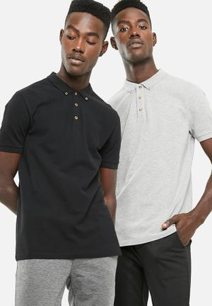 Pique short sleeve 2 pack slim fit polo - black & grey