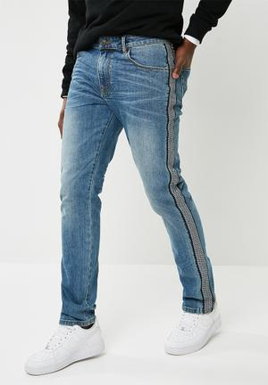 Slim taped jeans - blue