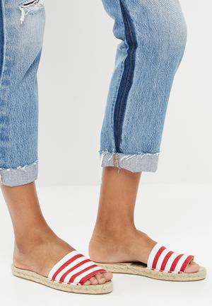 Espadrille slide - red & white
