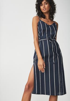 Woven Marce midi slip dress - navy & white