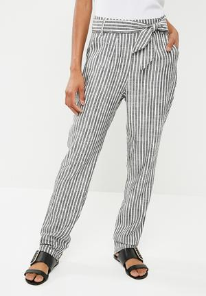 Linen blend self tie suit pants - charcoal & white