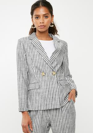 Linen blend suit blazer  - charcoal & white