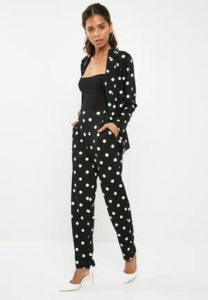 Spotted suit pant - black & white
