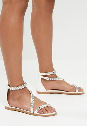 95594b23b49 Feature block heel barely there sandal - rose gold. By Missguided R499. Add  to wishlist. Asymmetric chain tbar sandal - white