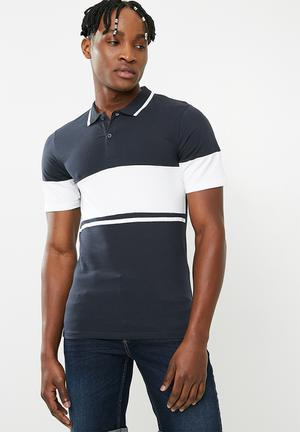 Tom muscle fit colour block polo - navy