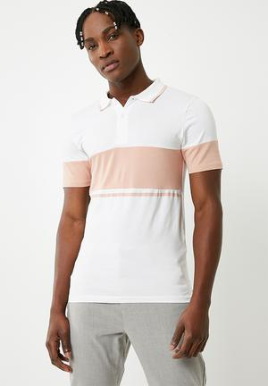 Tom muscle fit colourblock polo - pink