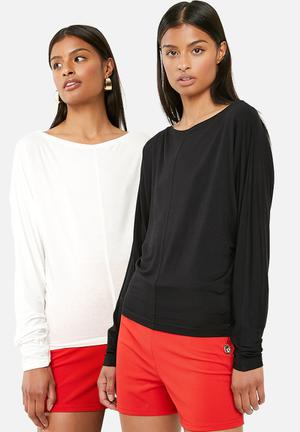 f6b6b957927 Long sleeve 2 pack tee - black   cream
