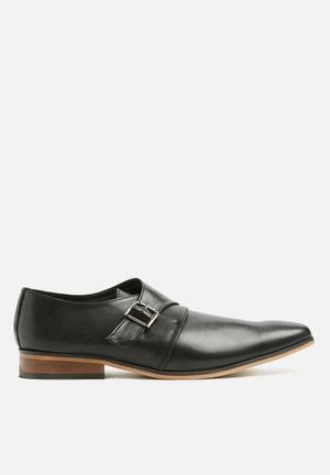 Single leather monk strap - black