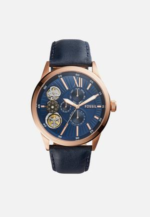Fynn leather - navy & rose gold