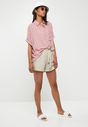 Drop shoulder boxy shirt - pink & white