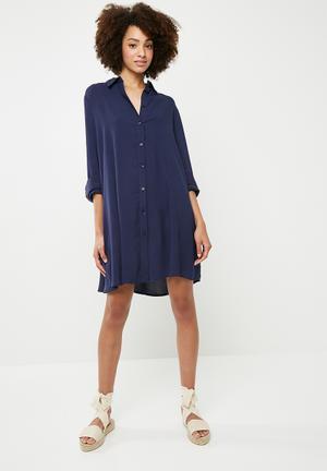 Button down shirt dress - navy