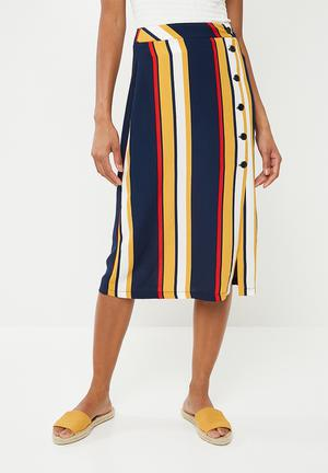 Button up pencil skirt - multi