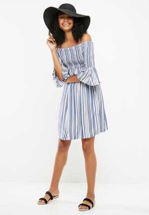 Celeste off shoulder smock dress - blue & white