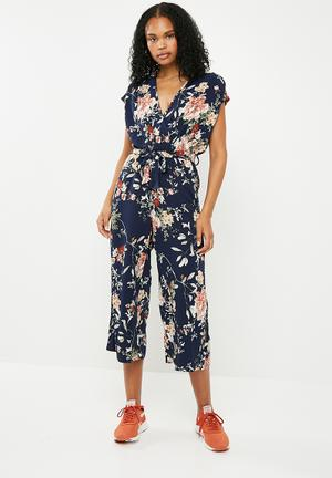 Terra short sleeve woven jumpsuit - multi