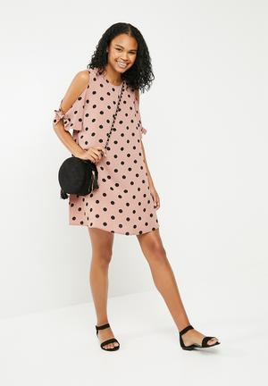 Cold shoulder spot swing dress - pink & black