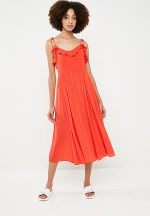 Free midi dress - red