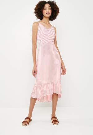 Sailor midi dress - pink & white