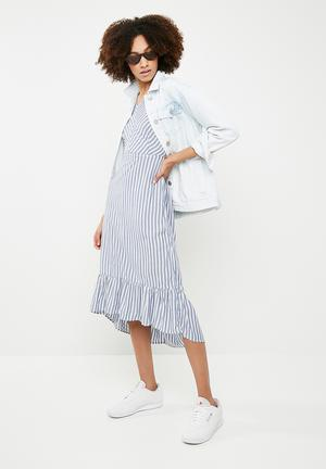 Sailor midi dress - blue & white