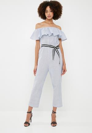 Frill jumpsuit - blue & white