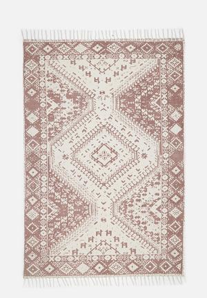 Agrona printed rug - dark dusty pink