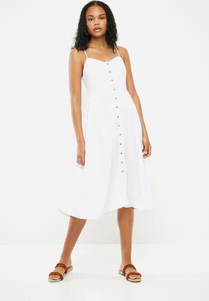 Plain button through midi dress - white