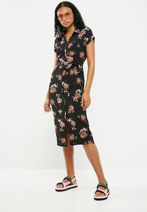 Floral short sleeve midi shirt dress - multi