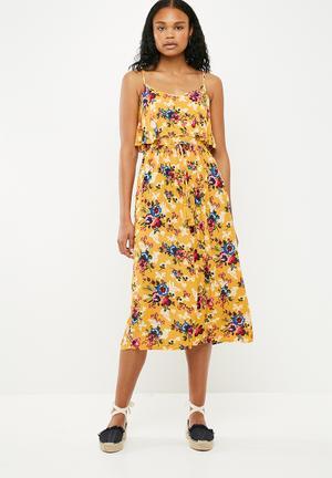 Macy midi tier dress - mustard