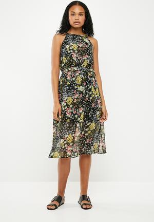 Lisa print belted midi dress - multi