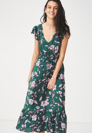 Woven summer flora v-neck maxi dress - green