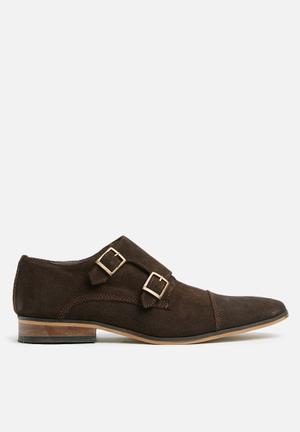 Carlo monk strap formal suede  - brown