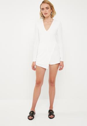 Long sleeve crepe wrap skort playsuit - white