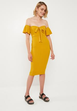 Stretch crepe bardot cut out tie front - mustard