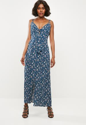 205f75ad983a Crepe floral strappy knot front maxi dress - blue