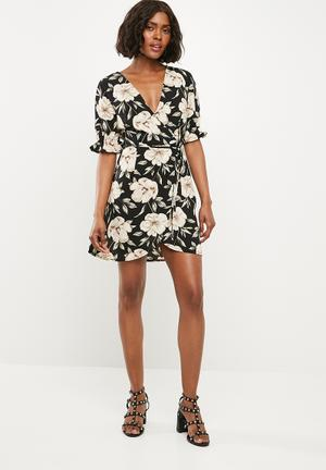 Crepe floral wrap over mini dress - multi