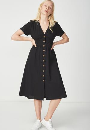 Woven summer midi dress - black