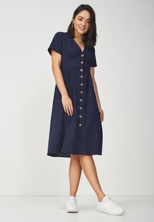 Woven summer  midi dress - navy