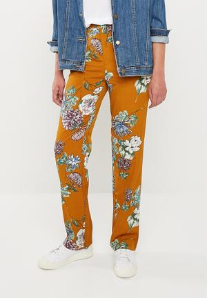 Floral wide leg trousers - multi