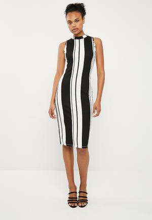 Bodycon dress - black & white