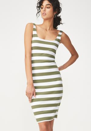 Kimi scooped bodycon - khaki & white