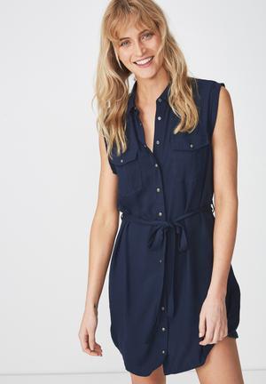 Woven Tilly sleeveless shirt dress - navy
