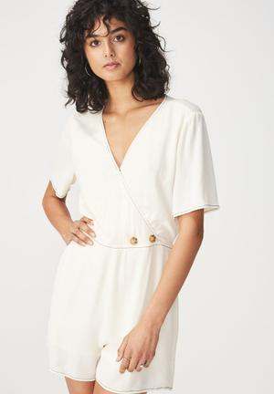 Woven angie cap sleeve playsuit  gardenia - white
