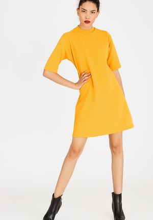 Turtleneck Shift Dress Yellow