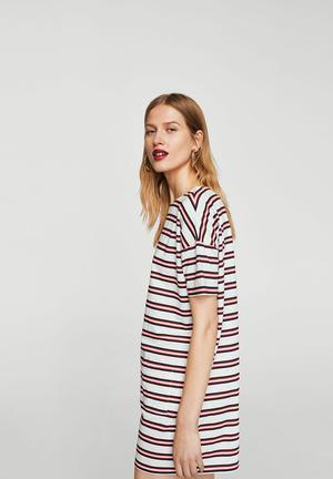 Striped Shift Dress Grey