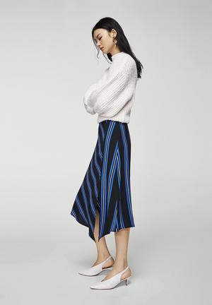 Striped Asymmetric Skirt Blue