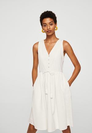 Crochet Detail Dress Off White
